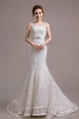 Hotsale Mermaid One Shoulder Lace Bridal Satin Beads Sash Wedding Dress  HS388