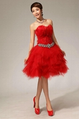 Strapless Short White Party Dress Graduation Dress Cocktail Dress LF68-Red