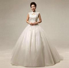包肩婚紗2014新款春韓版大碼齊地蕾絲修身綁帶露背新娘婚紗HS299