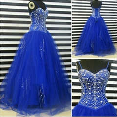 Sweetheart Heavy Beadings Royal Blue Floor Length Quincenarea Dress YE006