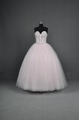 Popular Sweetheart Beaded Floor Length Tulle Satin Quinceanera Dresses YE016