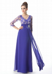 In Stock Sleeved Floor Length Lace Chiffon Evening Dress HE09053