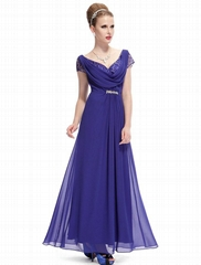 Custom Made Royal Blue Chiffon Party Dresses Evening Dresses HE09990
