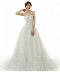 2014最新款超豪華大拖尾婚紗禮服 韓式抹胸時尚蕾絲長拖尾婚紗 2516