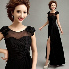 Best Seller Bare Leged Black Chiffon Evening Dress 1869