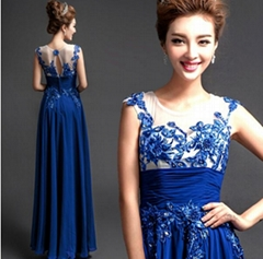 Wholesale New Royal Blue Floor Length Chiffon Evening Dress 5228