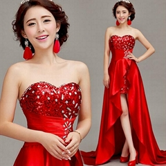 Wholesale Sweetheart High Low Red Evening Dress Party Dress 011
