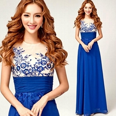 Floor Length Blue Embroidery Chiffon Evening Dress 1861