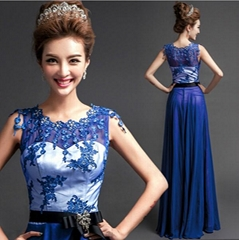 New A Line Lace Chiffon Blue  Evening Dress Evening Gown 3390