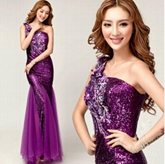 New Sexy Lace Beading Purple Evening Dress Mermaid Prom Dress 8261