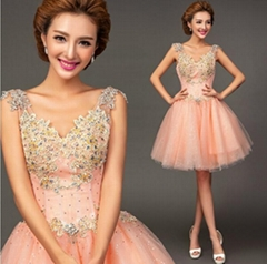 New Best Selling Beading V Neck Pink Party Dress Graduation Dress 8231