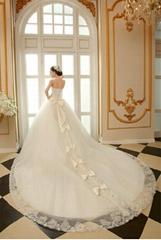 新娘婚紗禮服白色新款2014韓版長拖尾抹胸大碼露背綁帶豪華拖尾HS131