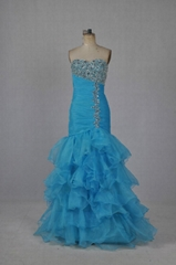 Hotsale Strapless Mermaid Beading And Pleated Evening Gowns PS007