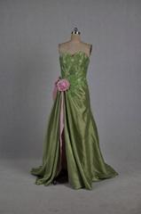 Custom Made Strapless A Line Romantic Beading Evening Dress With Train E061