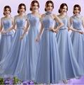 藍紫色單肩新娘伴娘婚紗晚裝禮服年會晚