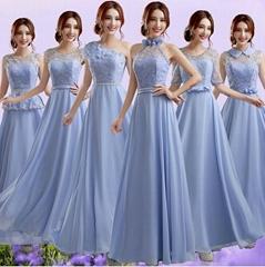 藍紫色單肩新娘伴娘婚紗晚裝禮服年會晚會宴會主持夜店演出服626