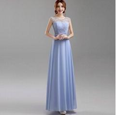 藍紫色露背新娘伴娘婚紗晚裝禮服年會晚會宴會主持夜店演出服638