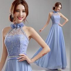 藍紫色挂脖新娘伴娘婚紗晚裝禮服年會晚會宴會主持演出服 632