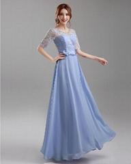 藍紫色中長袖新娘伴娘婚紗晚裝禮服年會晚會宴會主持演出服642