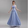 藍紫色露背新娘伴娘婚紗晚裝禮服年會晚