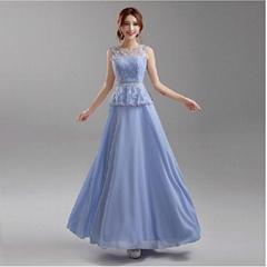 藍紫色露背新娘伴娘婚紗晚裝禮服年會晚會宴會主持夜店演出服646
