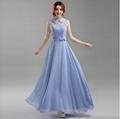 藍紫色挂脖新娘伴娘婚紗晚裝禮服年會晚