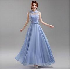 藍紫色挂脖新娘伴娘婚紗晚裝禮服年會晚會宴會主持演出服648