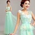 淡綠色蕾絲公主新娘結婚敬酒服婚紗晚裝