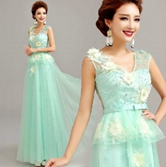 Wholesale Floor Length Green Beading Lace Tulle Evening Dress 228