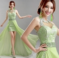 2014 New Sexy Green Lace Evening Dress