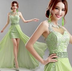 綠色前短后長新娘伴娘婚紗晚裝禮服年會晚會宴會主持演出服630