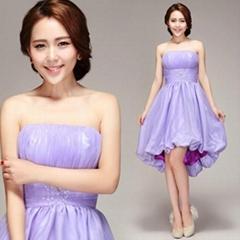 High Low Cheap Strapless Taffeta Evening Dress Graduation Dress Party Dress 2896