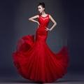 Elegant Red Mermaid Lace Evening