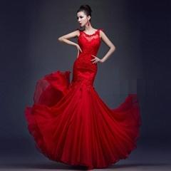Elegant Red Mermaid Lace Evening Dress  Formal Evening Dress LF229