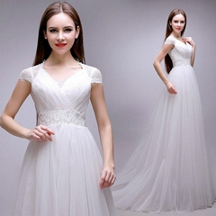 In Stock Ivory New A Line Wedding Dress With Train QX2191