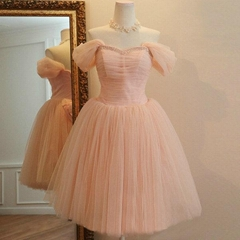 New A Line Short Pink Tulle Graduation Dress Wedding Party Dress 9922