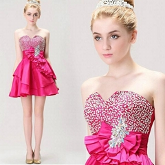 Strapless Beading A Line Short Bridesmaid Dress Graduation Dress5913