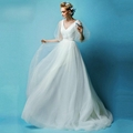 2015 New Spring A Line Beading Tulle Wedding Dress With Sweep Train XHS019