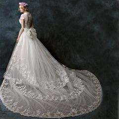 雙肩婚紗禮服拖尾新款優雅婚紗顯瘦一字肩蕾絲A字裙 XHS007
