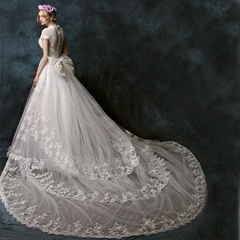 A Line Lace Tulle Beading Beach Wedding Dress With Detached Train XHS007