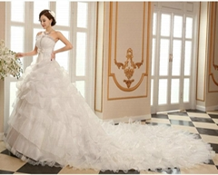 Wholesale Strapless A Line Organza Wedding Dress Bridal Dress With Train HS177