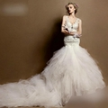 New Sexy See Through Lace Tulle Mermaid Wedding Gown NW14361