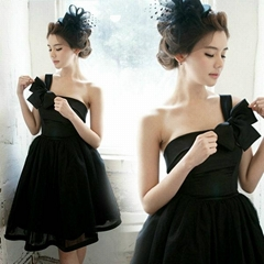 New Amazing One Shoulder Short Black Party Dress Bridesmaid Dress 1120