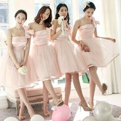 New Amazing One Shoulder Short Pink Party Dress Bridesmaid Dress 521