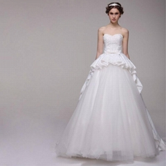 New Sweetheart Satin Lace Beading Ball Gown Wedding Dress With Train SWL-010