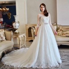 Cheap Sleeved A Line Beading Lace Wedding Dress With Train S313