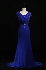 New A Line Applique and Beaded A Line Blue Chiffon Evening Dress L21420