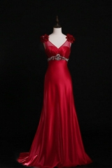 V Neck Beading Soft Satin A Line Prom Dress Evening Dress With Train L21421