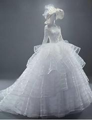 新款熱銷版中袖蕾絲拖尾婚紗 新娘蓬蓬裙婚紗 HS498