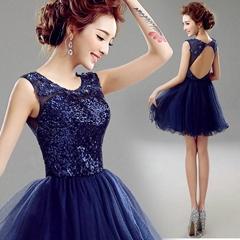 藍色短款新娘伴娘露背小禮服晚宴宴會年會舞臺演出服裝10009